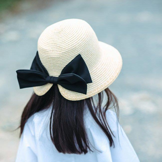 嬰兒帽子時尚草帽女日繫溫婉大蝴蝶結開叉遮陽帽子度假防曬