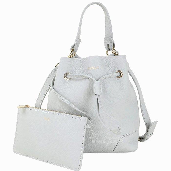 米蘭廣場 FURLA Stacy 小款 附萬用包荔紋牛皮手提/斜背水桶包(淺灰色) 1840342-D7