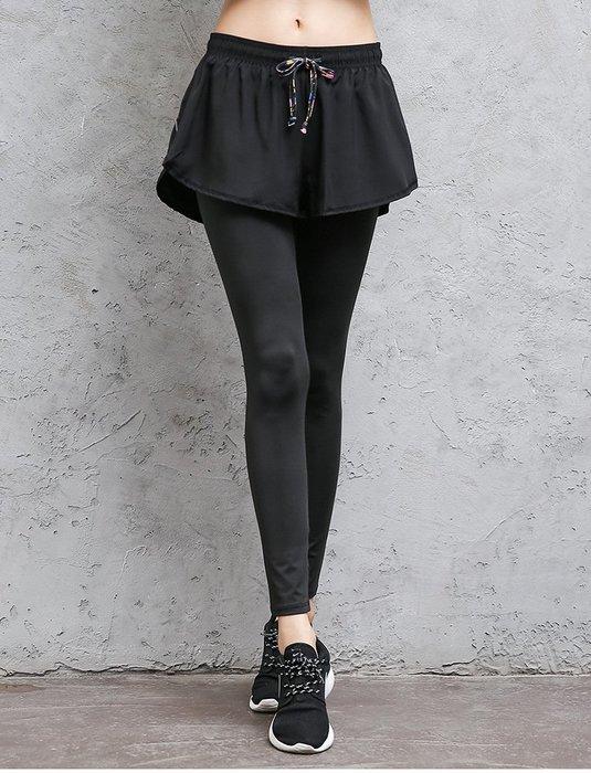 【Zoe Sport 柔依運動衣坊】女 假兩件長褲 運動長褲 吸濕排汗 塑身 顯瘦 C37-847