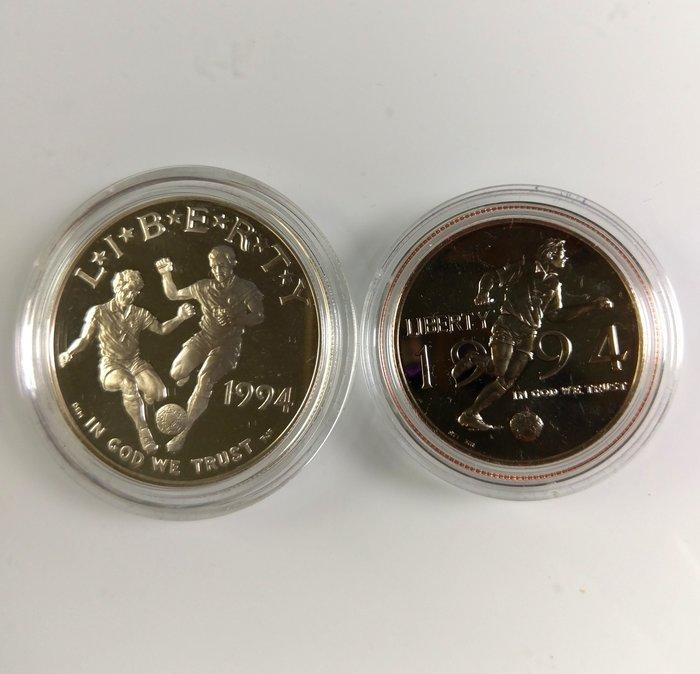 美國 1994年 世界盃足球 套幣 一銀一鎳 盒証全