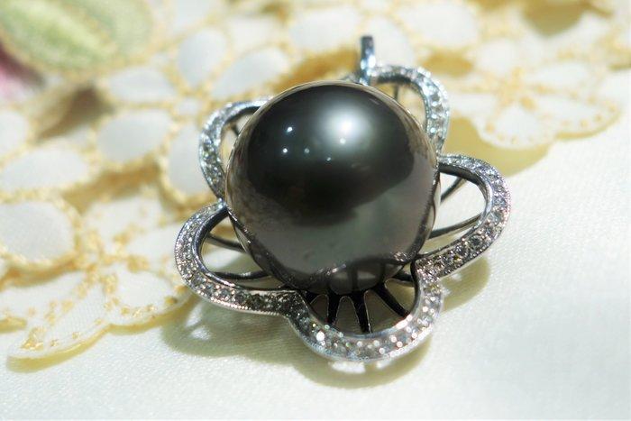 【艾琳珠寶藝術】天然大溪地黑色珍珠18.5mm,絕美,貴婦豪華款,喜宴、派對、名媛系列,附證書