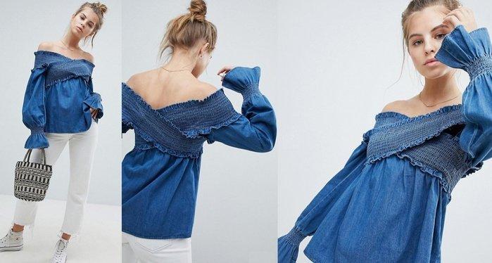 ◎美國代買◎ASOS荷葉袖口搭配X型交錯抓皺寛版帶肩線設計可愛甜心荷葉袖露肩牛仔上衣~歐美街風~大尺碼