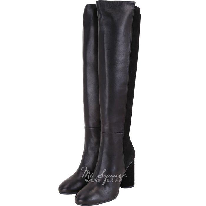 米蘭廣場 Stuart Weitzman ELOISE 95 皮革拼接及膝粗跟長靴(黑色) 1910041-01