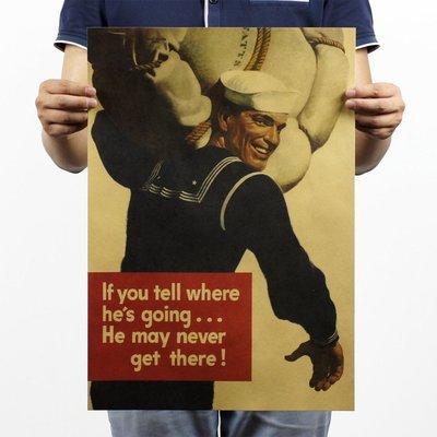 【貼貼屋】美國水兵 戰爭 美式漫畫 店面裝飾 懷舊復古 牛皮紙 海報 電影海報 484