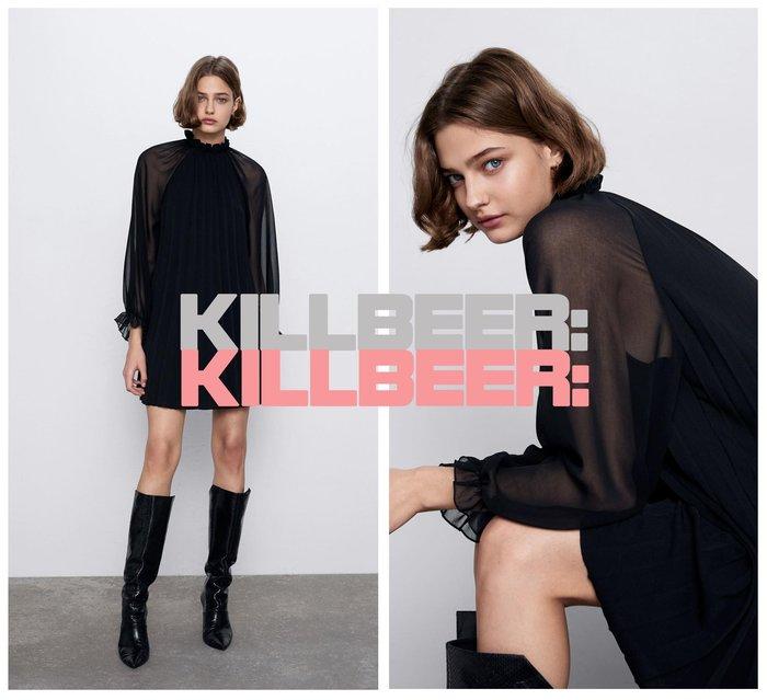 KillBeer:小姊姊等等我之 歐美復古典雅氣質絕黑小性感微透打褶荷葉小高領垂墜感連身裙洋裝010806