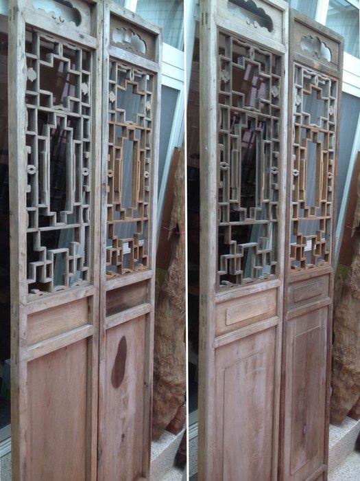 【黑狗兄】老窗花門雕花門,隔扇,屏風一對,高265公分----D6