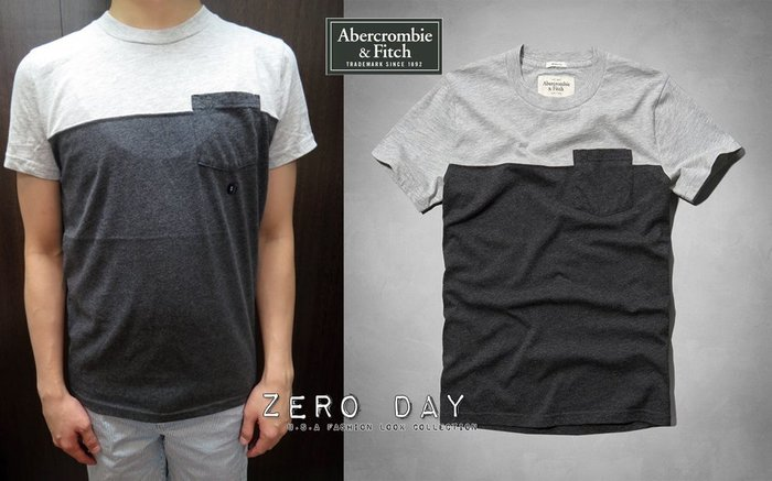 A&F Abercrombie&Fitch Indian Pass Colorblock Pocket Tee拼色T灰色