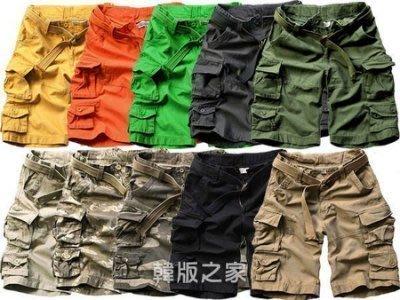 送腰帶美式休閒多口袋高品質AF風工作短褲 迷彩 高磅數短褲