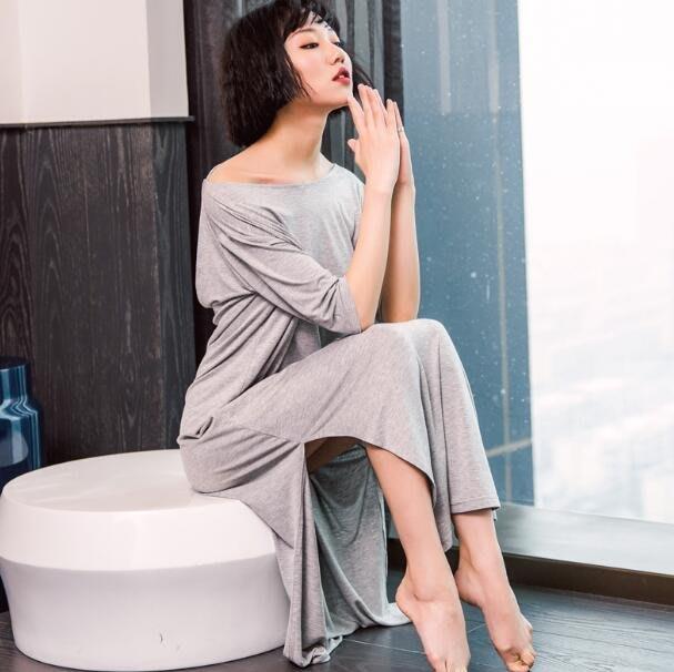 性感睡衣 洋裝 睡裙 莫代爾棉性感睡衣 短袖大尺碼寬松純色露背長款居家服—莎芭