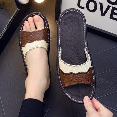 夏季牛皮拖鞋男女情侣室内牛筋底防滑地板家用居家真皮凉拖鞋防臭