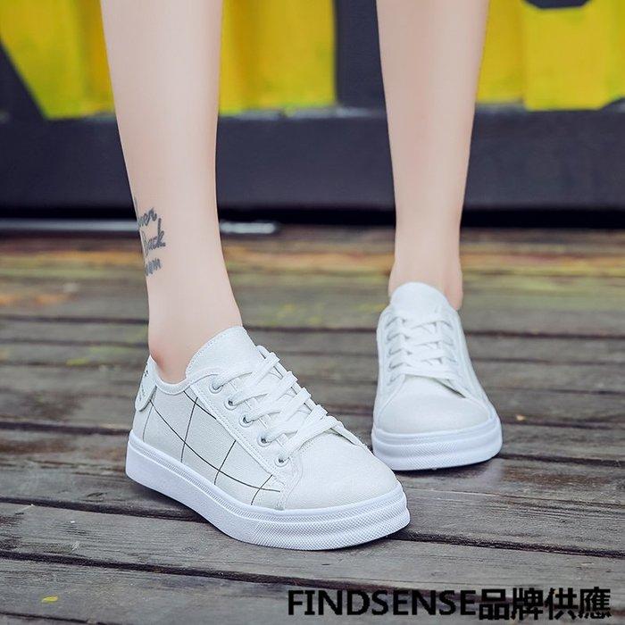 FINDSENSE品牌 四季款 新款 日本 女 高品質 個性  簡約格子 舒適  時尚帆布鞋 運動休閒鞋  潮流鞋子