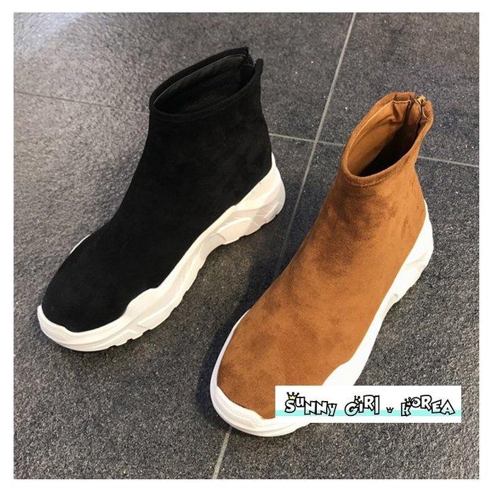 正韓襪靴*Sunny Girl*韓國代購絨面厚底後拉鏈運動短靴 2019十二月新款 - [WH1414]