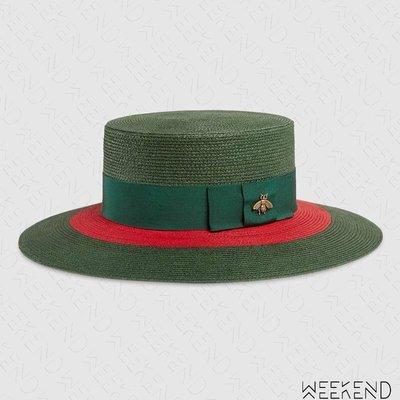 【WEEKEND】 GUCCI Papier Wide Brim 編織 蜜蜂 帽子 草編帽 綠色 454667
