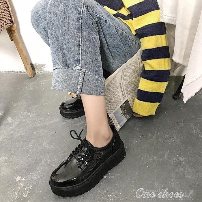 英倫風女鞋季復古厚底單鞋高跟漆皮繫帶百搭鬆糕軟妹小皮鞋女