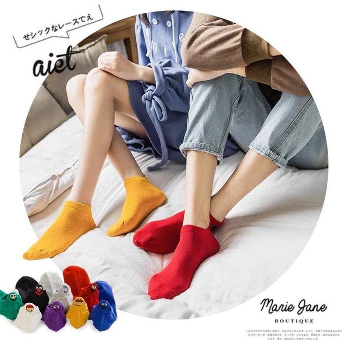 【五雙/組】卡哇伊小怪獸卡通造型襪女款素面條紋隱形防滑短襪女生女孩短襪各式襪子促銷球鞋用的鞋娃娃鞋懶人鞋百搭平價商品短襪