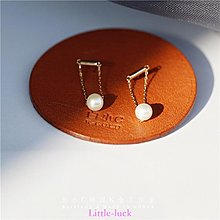 Little-luck~白小C 韓國進口K黃金14K/10K金耳環 一字小金棍吊墜天然珍珠耳釘
