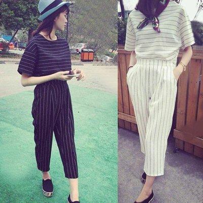 兩件式 韓版時尚休閒條紋短版2件式套裝【P2837】☆雙兒網☆