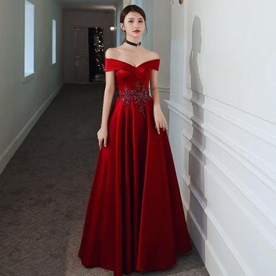 婚紗禮服 敬酒服新娘2020新款紅色一字肩婚紗孕婦大碼宴會氣質晚禮服裙女
