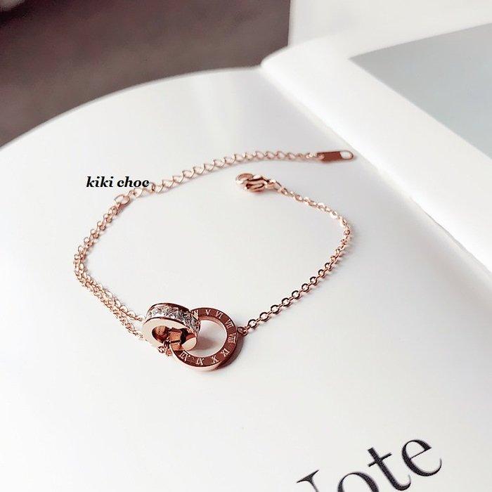 ♥kiki choc♥♥歐美系 *鈦鋼材質* 羅馬數字+排鑽雙圈圈雙環相扣手環手鍊手鏈手鐲