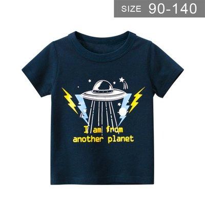 男童短袖T恤。ROUROU童裝。夏男童中小童100%棉飛碟印花圓領短袖T恤 0121-508