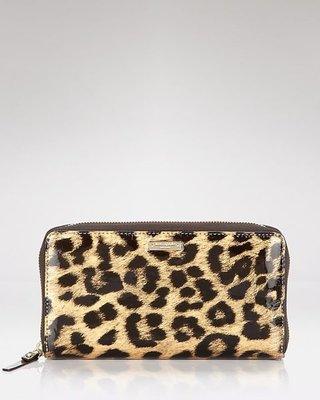美國名牌Kate Spade 咖啡色漆皮豹紋14K金LOGO拉鍊長夾錢包~現貨在美~特價$3580含郵