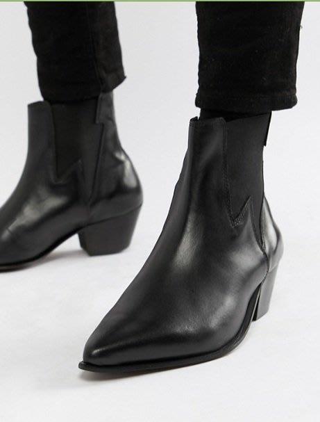 ◎美國代買◎ASOS閃電彈性帶裝飾設計搭配粗高跟英倫龐克搖滾風黑色微高跟尖頭短靴踝靴~歐美街風~大尺碼