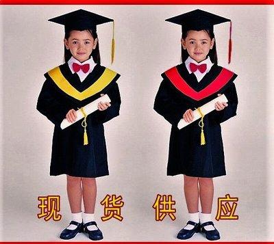 儿童博士服演出服装幼儿舞蹈服男女毕业礼服幼儿园学士服120公分紅邊現貨