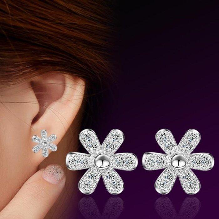 韓版時尚OL民族風簡約鑲鑽耳環小雛菊花朵耳釘  時尚配飾 ps464 銀飾 耳飾