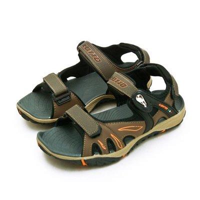 利卡夢鞋園–LOTTO 專業多功能磁扣戶外運動涼鞋--LIGHT-FOOTED系列--咖啡黑--0203--男