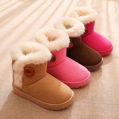 兒童雪地靴女童短靴男童靴子寶寶加棉毛毛加絨鞋子 【潮玩街】
