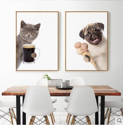 『格倫雅』嘿!夥伴!北歐客廳裝飾畫小清新貓狗掛畫壁畫沙發背景墻動物墻畫^21773