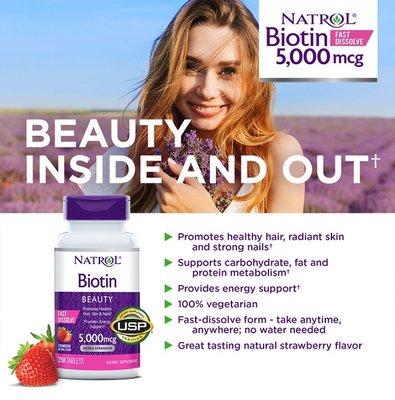 【現貨】美國原裝 Natrol Biotin 納妥生物素片 頭髮/皮膚/指甲 快速溶解 5000 mcg. 250片