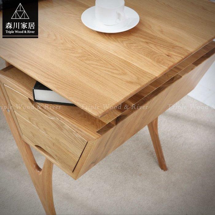 《森川家居》NST-39ST03-北歐白橡木原木斜腳雙抽書桌 辦公桌萬用桌實木/收納設計/書房民宿品東西IKEA