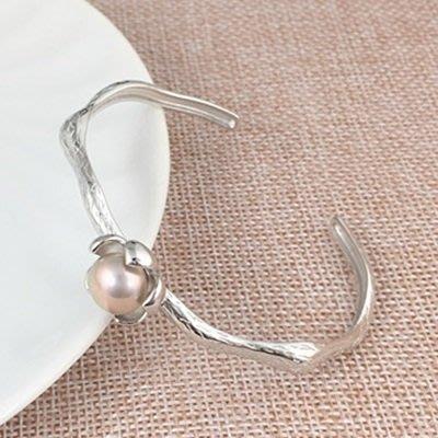 珍珠 手 環 925純銀手鍊-9.5mm含苞待放情人節母親節禮物女飾品2色73qn47[獨家進口][巴黎精品]