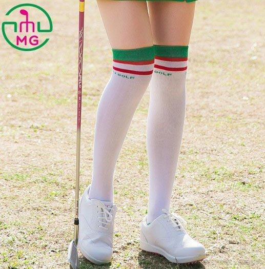 2019春夏新款ME新ETGOLF高爾夫新款球時尚運動高筒長襪子白底紅綠條