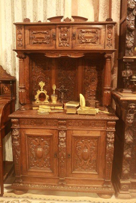 【家與收藏】極品稀有珍藏歐洲百年古董法國18世紀古典精緻宮廷手工雕刻老邊櫃/置物櫃