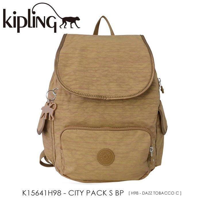 KIPLING CITY PACK S BP 15641 菸草色 後背包 翻蓋 束口 書包 小猴子 LUCI日本代購
