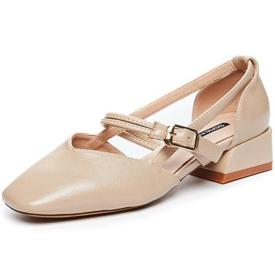 【Amily】軟妹包頭涼鞋女夏2018新款粗跟中空單鞋韓版百搭粗跟瑪麗珍奶奶鞋