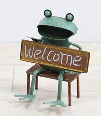 日本進口 馬口鐵青蛙造型歡迎門牌 歡迎光臨掛牌 WELCOME擺飾玄關餐廳門口招牌復古創意門牌裝飾 2464A