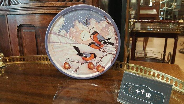 【卡卡頌 歐洲跳蚤市場/歐洲古董】歐洲老件_復古小鳥 雪景 圓 鐵盒 餅乾盒 小物收納盒 m0428✬