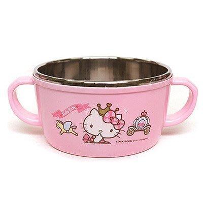 【幸福城堡】 Hello Kitty 不鏽鋼雙耳碗   湯碗 碗 兒童餐具 皇冠