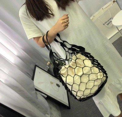 哆啦本鋪 網編提袋 創意編織網兜復古鏤空漁網包網袋手提雜物購物袋 D655