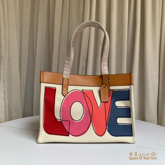 【紐約女王代購】COACH 89231 2020新款 LOVE塗鴉托特包 購物袋 單肩包 美國代購