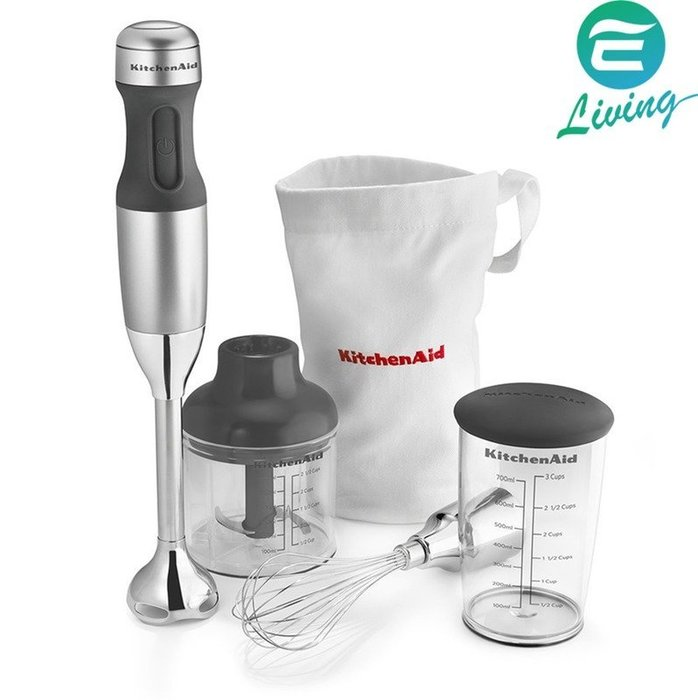 【易油網】KitchenAid KHB2351CU 3速手持式攪拌器 附配件 銀 #24050
