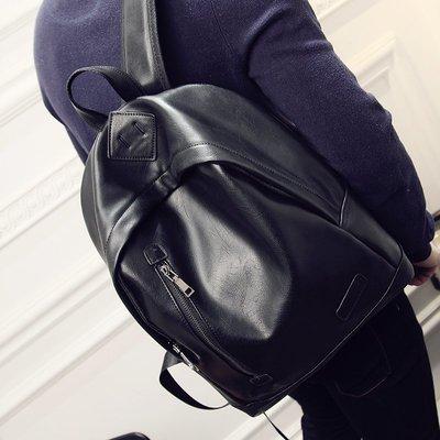 韓版男士雙肩包男時尚潮流中學生休閑旅行運動背包pu皮書包女潮包