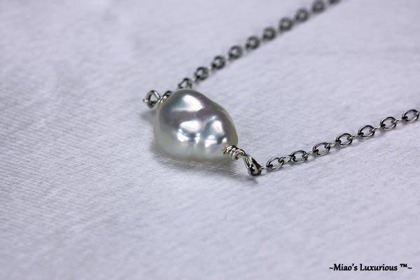 純手工製作-極致經典天然白色系Keshi珍珠短項鍊/許願項鍊-鎖骨項鍊-日雜韓風