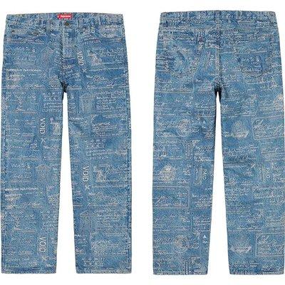 全新正品Supreme SS20 Checks Embroidered Jean 牛仔褲