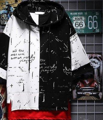 歐美街頭潮牌拼接假兩件短袖t恤男嘻哈寬鬆潮流潑墨印花五分袖男