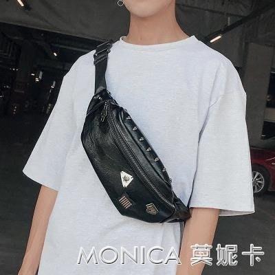 韓版潮男皮質小胸包斜背包 休閒街頭手機包腰包 戶外騎車背包背包