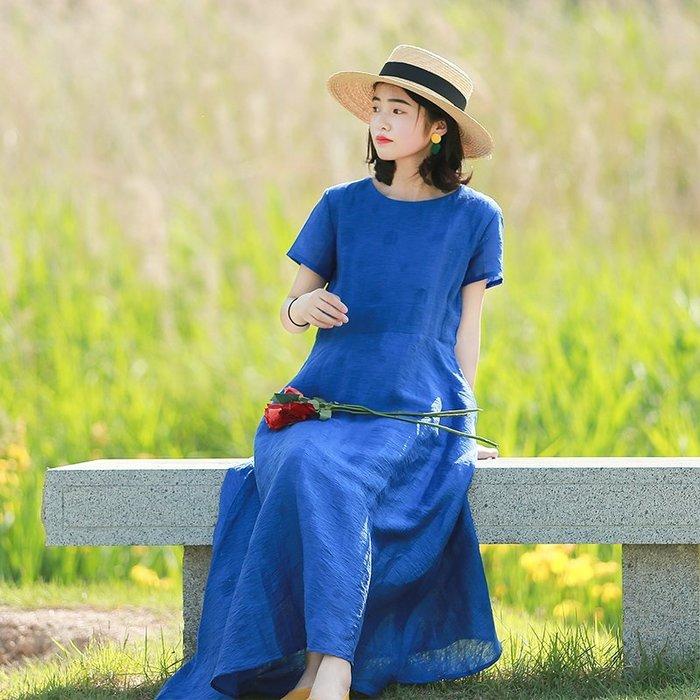 【鈷藍家】棉麻臆想 原創不期而遇寶藍色絲麻連身裙暗紋提花光澤感短袖大裙擺連身長裙